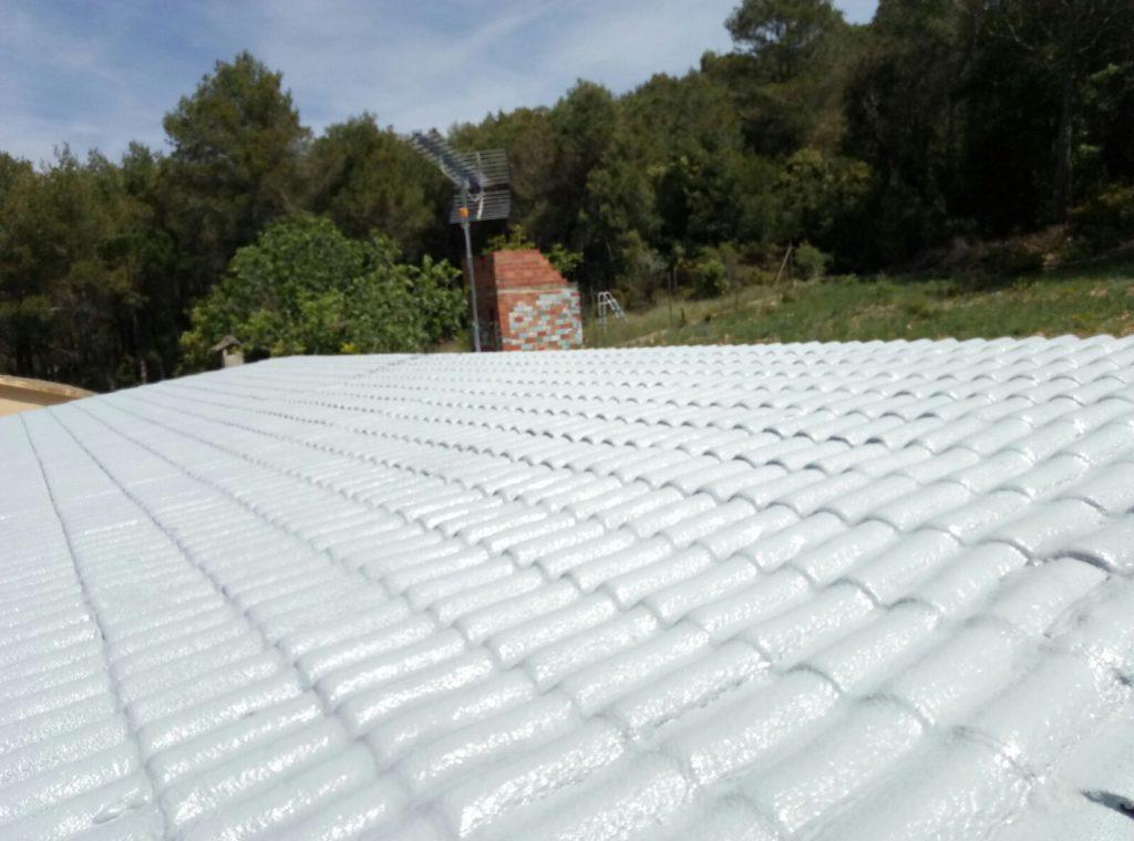 revestimiento sobre teja francesa con poliuretano